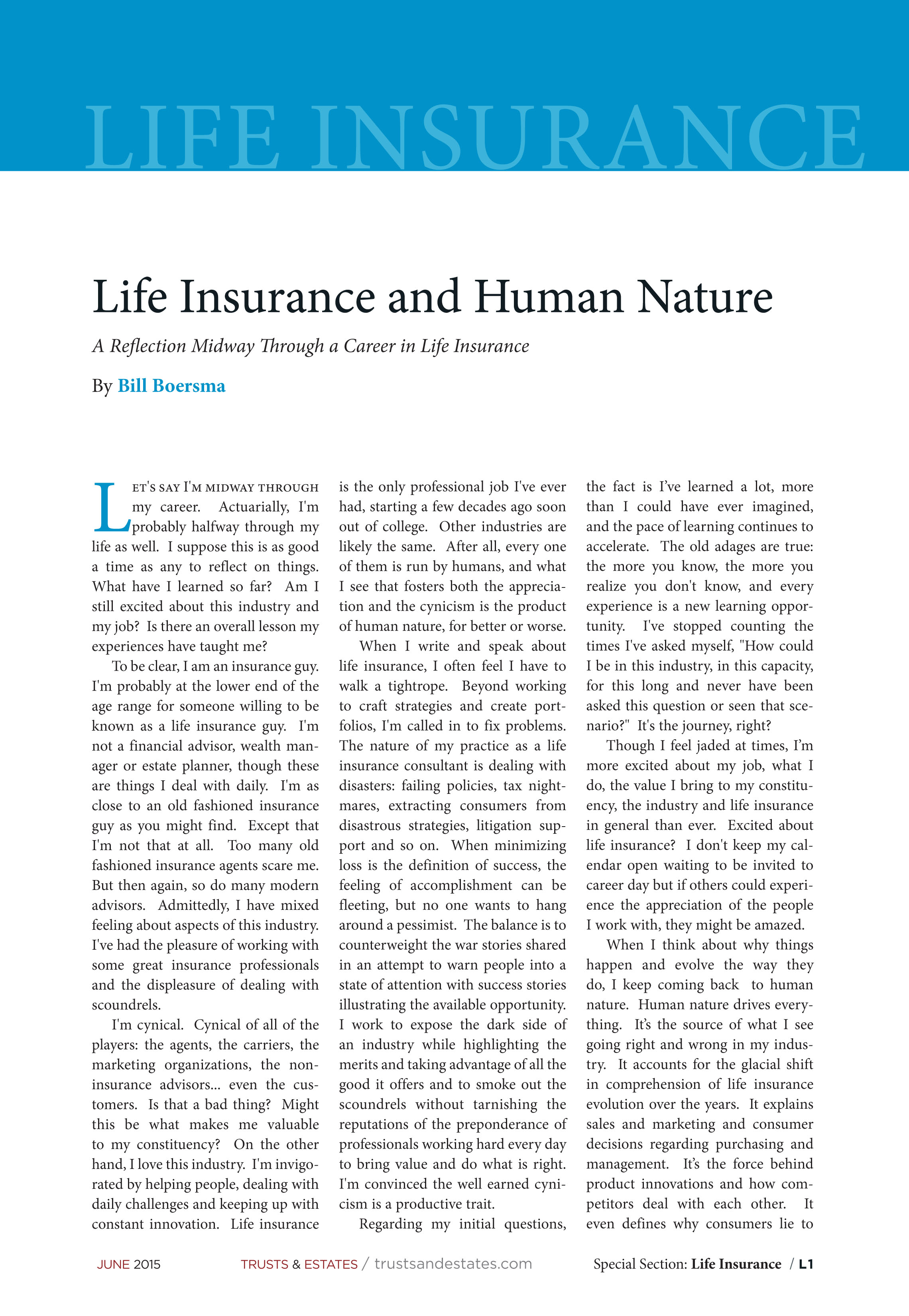 Life Insurance and human Nature
